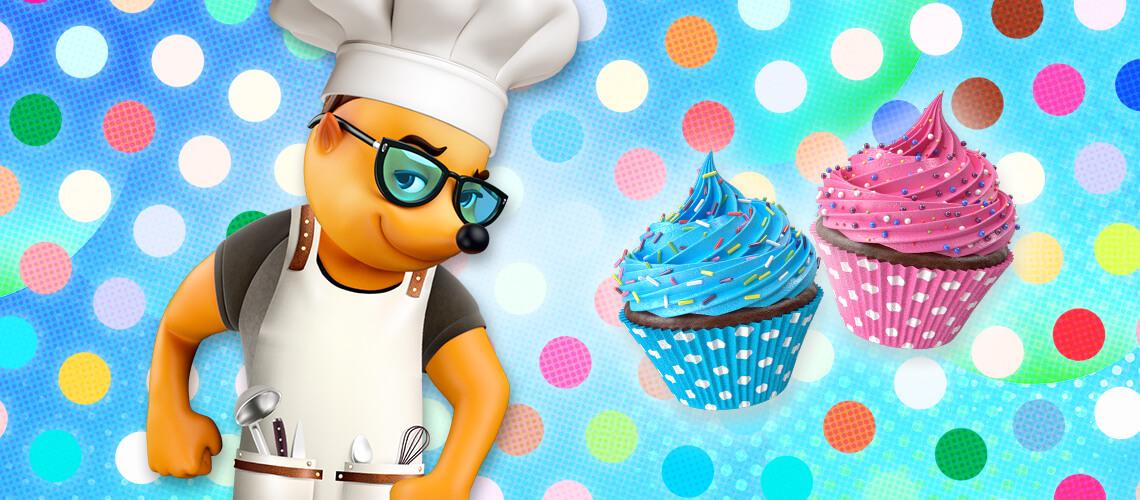 Bunte Hütchen-Cupcakes
