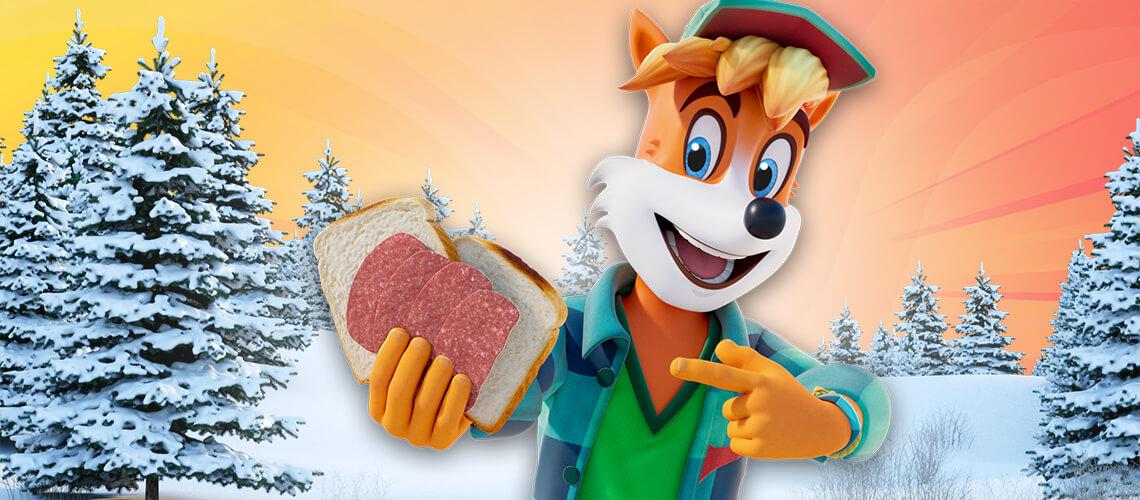 Ein leckerer Schneemann-Toast mit Ferdi Fuchs Mini Salami auf´s Brot