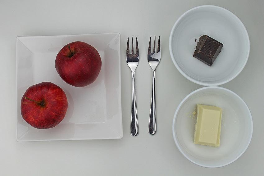 Zutaten für gruselige Apfel-Gespenster