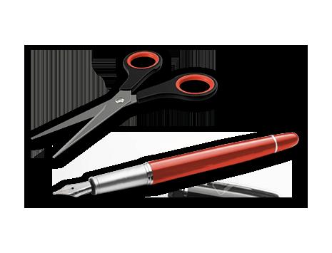 Scheren und Füller
